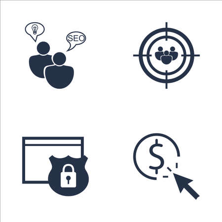 targeting: Set Of SEO, Marketing And Advertising Icons On Pay Per Click, Audience Targeting, SEO Consulting And More. Premium Quality EPS10 Vector Illustration For Mobile, App, UI Design. Illustration