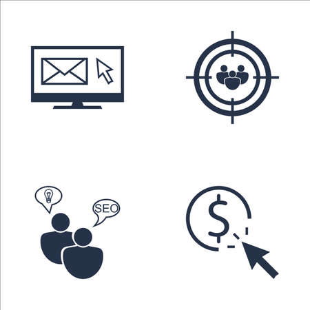targeting: Set Of SEO, Marketing And Advertising Icons On Pay Per Click, Email Marketing, Audience Targeting And More. Premium Quality EPS10 Vector Illustration For Mobile, App, UI Design.