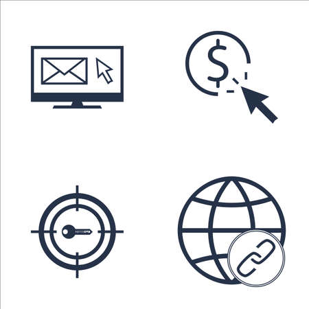 keywords link: Set Of SEO, Marketing And Advertising Icons On Link Building, Target Keywords, Email Marketing And More. Premium Quality EPS10 Vector Illustration For Mobile, App, UI Design.