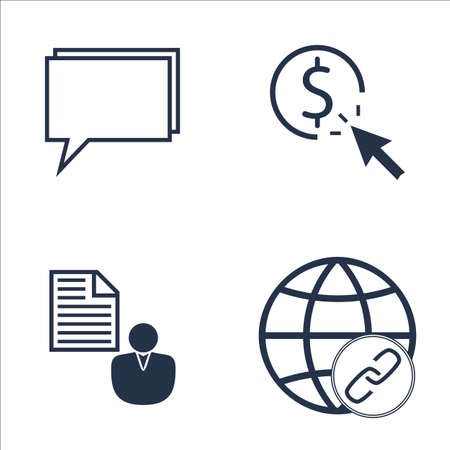 link building: Set Of SEO, Marketing And Advertising Icons On Pay Per Click, Link Building, Online Consulting And More. Premium Quality EPS10 Vector Illustration For Mobile, App, UI Design.