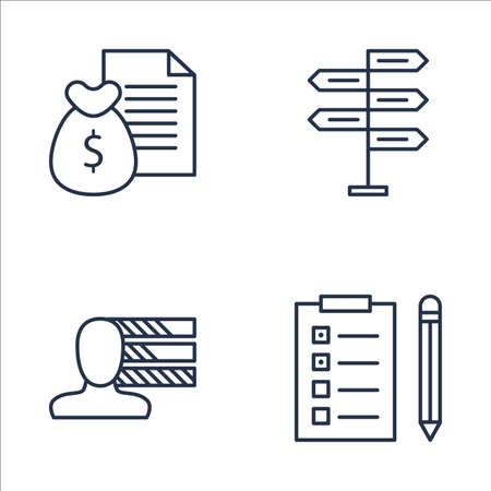 personality development: Set Of Project Management Icons On Decision Making, Task List, Money Revenue And More. Premium Quality EPS10 Vector Illustration For Mobile, App, UI Design.