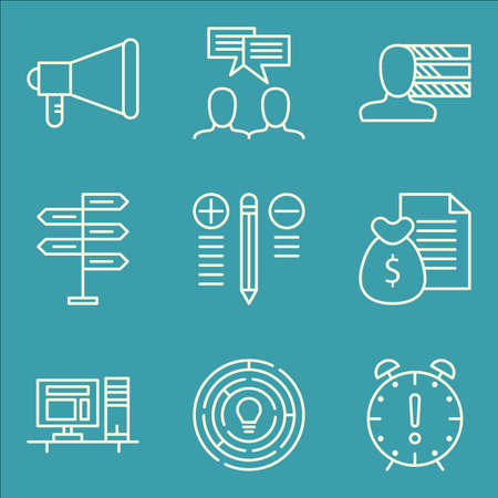 personality development: Set Of Project Management Icons On Decision Making, Personality, Creativity And More. Premium Quality EPS10 Vector Illustration For Mobile, App, UI Design.
