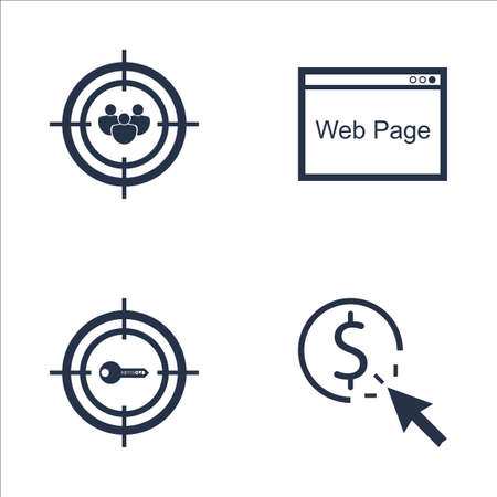 targeting: Set Of SEO, Marketing And Advertising Icons On Web Page, Pay Per Click, Audience Targeting And More. Premium Quality EPS10 Vector Illustration For Mobile, App, UI Design. Illustration