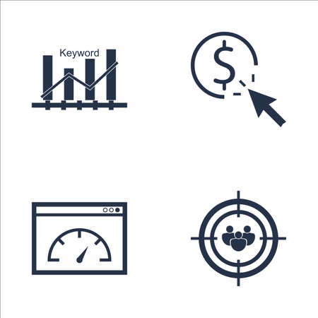 targeting: Set Of SEO, Marketing And Advertising Icons On Keyword Ranking, Audience Targeting, Page Speed And More. Premium Quality EPS10 Vector Illustration For Mobile, App, UI Design.