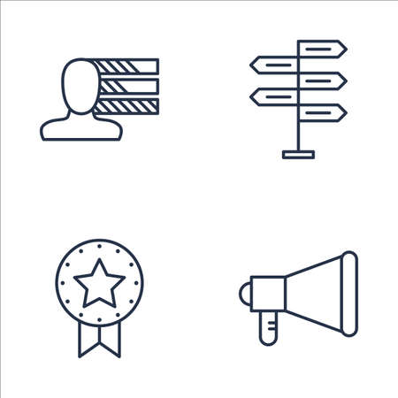 personality development: Set Of Project Management Icons On Decision Making, Promotion, Personality And More. Premium Quality EPS10 Vector Illustration For Mobile, App, UI Design. Illustration