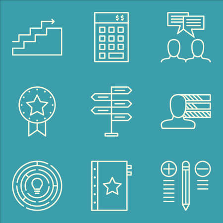 personality development: Set Of Project Management Icons On Charts, Team Meeting, Decision Making And More. Premium Quality EPS10 Vector Illustration For Mobile, App, UI Design.