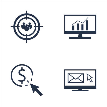comprehensive: Set Of SEO, Marketing And Advertising Icons On Audience Targeting, Email Marketing, Comprehensive Analytics And More. Premium Quality EPS10 Vector Illustration For Mobile, App, UI Design.