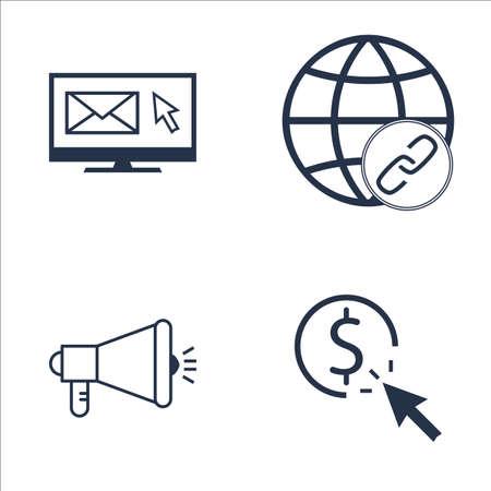 link building: Set Of SEO, Marketing And Advertising Icons On Email Marketing, Link Building, Viral Marketing And More. Premium Quality EPS10 Vector Illustration For Mobile, App, UI Design. Illustration