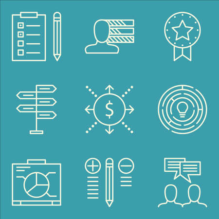 personality development: Set Of Project Management Icons On Team Meeting, Creativity, Task List And More. Premium Quality EPS10 Vector Illustration For Mobile, App, UI Design.