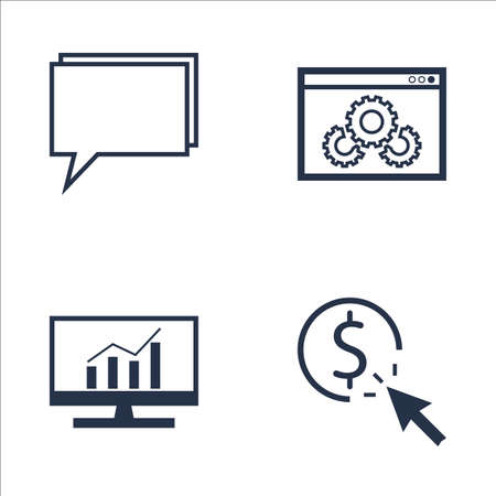 comprehensive: Set Of SEO, Marketing And Advertising Icons On Comprehensive Analytics, Pay Per Click, Online Consulting And More. Premium Quality EPS10 Vector Illustration For Mobile, App, UI Design.