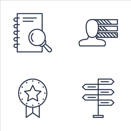 personality development: Set Of Project Management Icons On Research, Award, Personality And More. Premium Quality EPS10 Vector Illustration For Mobile, App, UI Design.