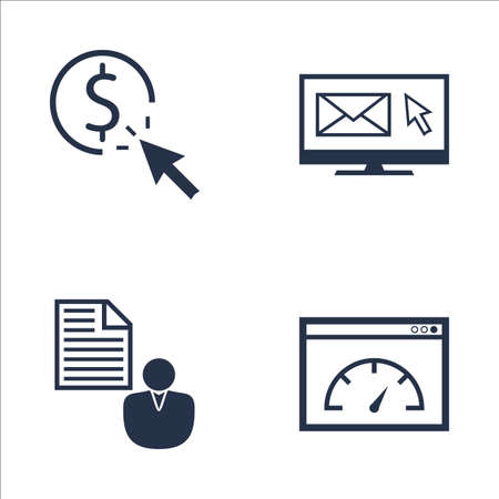 brief: Set Of SEO, Marketing And Advertising Icons On Pay Per Click, Page Speed, Client Brief And More. Premium Quality EPS10 Vector Illustration For Mobile, App, UI Design.