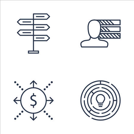personality development: Set Of Project Management Icons On Cash Flow, Creativity, Decision Making And More. Premium Quality EPS10 Vector Illustration For Mobile, App, UI Design.