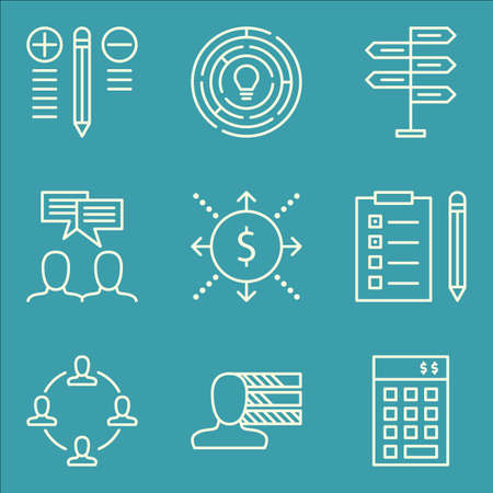 personality development: Set Of Project Management Icons On Task List, Best Solution, Decision Making And More. Premium Quality EPS10 Vector Illustration For Mobile, App, UI Design. Illustration