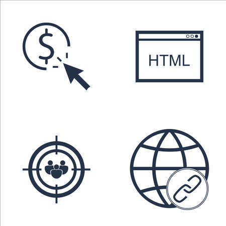 link building: Set Of SEO, Marketing And Advertising Icons On Link Building, Audience Targeting, HTML Code And More. Premium Quality EPS10 Vector Illustration For Mobile, App, UI Design. Illustration