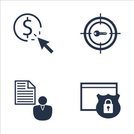 brief: Set Of SEO, Marketing And Advertising Icons On Pay Per Click, Website Protection, Client Brief And More. Premium Quality EPS10 Vector Illustration For Mobile, App, UI Design.