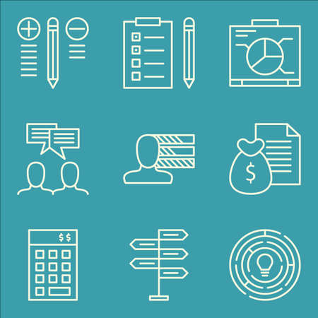 personality development: Set Of Project Management Icons On Personality, Decision Making, Money Revenue And More. Premium Quality EPS10 Vector Illustration For Mobile, App, UI Design. Illustration