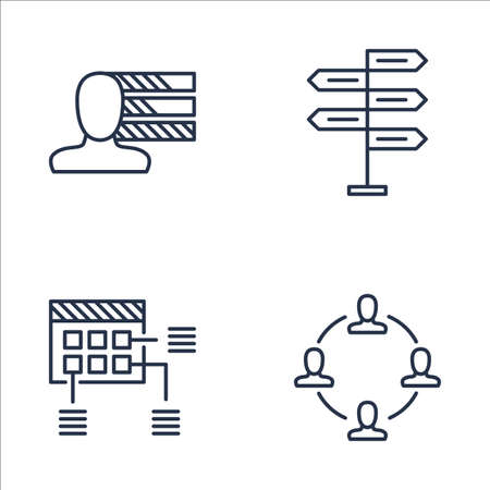 personality development: Set Of Project Management Icons On Personality, Decision Making, Planning And More. Premium Quality EPS10 Vector Illustration For Mobile, App, UI Design. Illustration