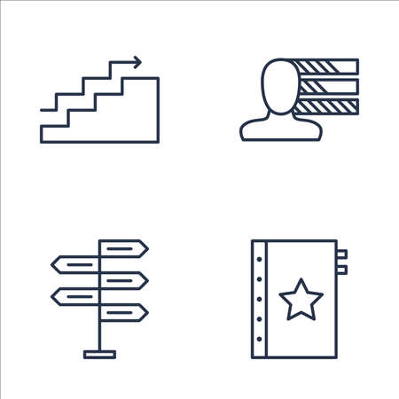 personality development: Set Of Project Management Icons On Decision Making, Quality Management, Charts And More. Premium Quality EPS10 Vector Illustration For Mobile, App, UI Design. Illustration