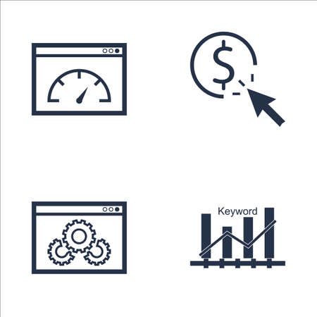 keyword: Set Of SEO, Marketing And Advertising Icons On Website Optimization, Pay Per Click, Keyword Ranking And More. Premium Quality EPS10 Vector Illustration For Mobile, App, UI Design. Illustration