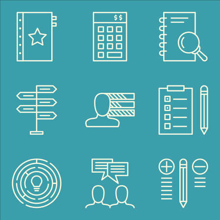 task list: Set Of Project Management Icons On Task List, Creativity, Decision Making And More. Premium Quality EPS10 Vector Illustration For Mobile, App, UI Design.