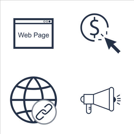 link building: Set Of SEO, Marketing And Advertising Icons On Viral Marketing, Pay Per Click, Link Building And More. Premium Quality EPS10 Vector Illustration For Mobile, App, UI Design. Illustration