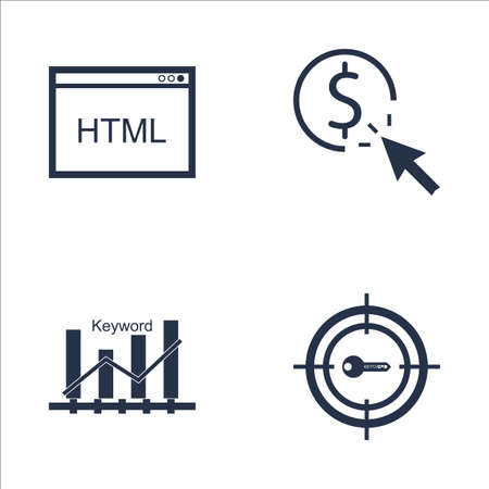 keyword: Set Of SEO, Marketing And Advertising Icons On Target Keywords, Pay Per Click, Keyword Ranking And More. Premium Quality EPS10 Vector Illustration For Mobile, App, UI Design.