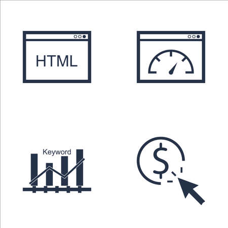 page rank: Set Of SEO, Marketing And Advertising Icons On HTML Code, Pay Per Click, Page Speed And More. Premium Quality EPS10 Vector Illustration For Mobile, App, UI Design.