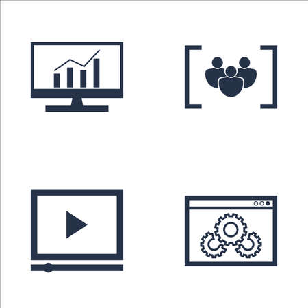comprehensive: Set Of SEO, Marketing And Advertising Icons On Video Advertising, Focus Group, Comprehensive Analytics And More. Premium Quality EPS10 Vector Illustration For Mobile, App, UI Design.