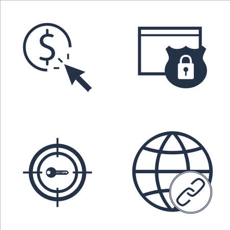 keywords link: Set Of SEO, Marketing And Advertising Icons On Link Building, Target Keywords, Website Protection And More. Premium Quality EPS10 Vector Illustration For Mobile, App, UI Design. Illustration