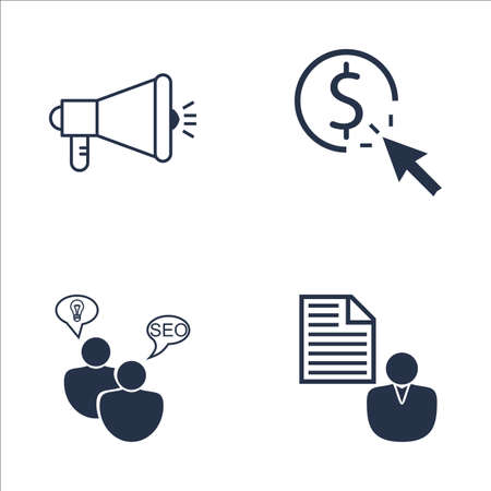 brief: Set Of SEO, Marketing And Advertising Icons On Client Brief, Pay Per Click, SEO Consulting And More. Premium Quality EPS10 Vector Illustration For Mobile, App, UI Design.