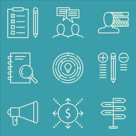personality development: Set Of Project Management Icons On Task List, Research, Promotion And More. Premium Quality EPS10 Vector Illustration For Mobile, App, UI Design. Illustration