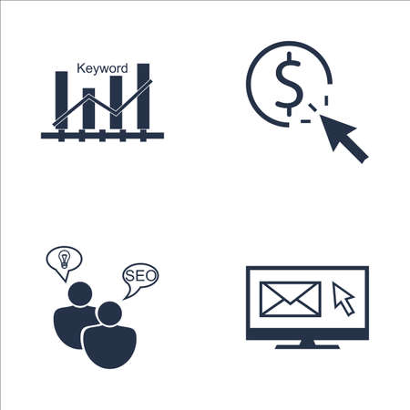 keyword: Set Of SEO, Marketing And Advertising Icons On Email Marketing, SEO Consulting, Keyword Ranking And More. Premium Quality EPS10 Vector Illustration For Mobile, App, UI Design.