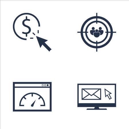 targeting: Set Of SEO, Marketing And Advertising Icons On Audience Targeting, Pay Per Click, Page Speed And More. Premium Quality EPS10 Vector Illustration For Mobile, App, UI Design. Illustration