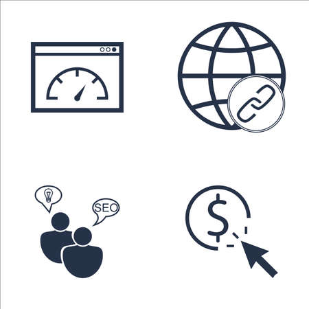 link building: Set Of SEO, Marketing And Advertising Icons On Link Building, Page Speed, SEO Consulting And More. Premium Quality EPS10 Vector Illustration For Mobile, App, UI Design.