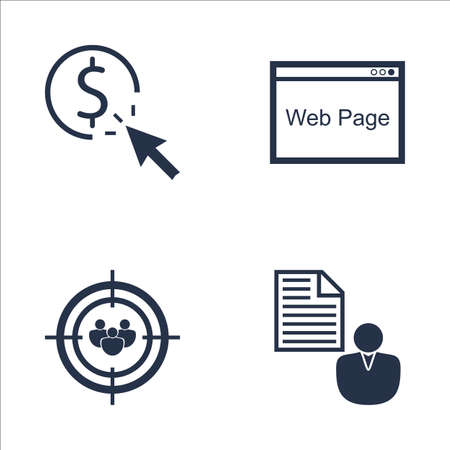 targeting: Set Of SEO, Marketing And Advertising Icons On Pay Per Click, Audience Targeting, Web Page And More. Premium Quality EPS10 Vector Illustration For Mobile, App, UI Design.