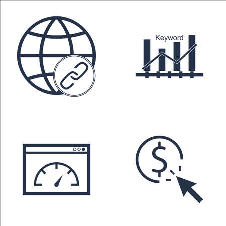 keywords link: Set Of SEO, Marketing And Advertising Icons On Link Building, Pay Per Click, Page Speed And More. Premium Quality EPS10 Vector Illustration For Mobile, App, UI Design. Illustration