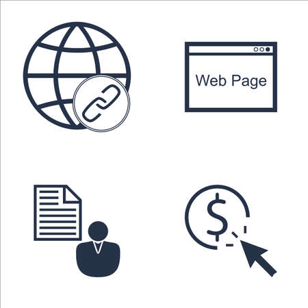 link building: Set Of SEO, Marketing And Advertising Icons On Link Building, Pay Per Click, Client Brief And More. Premium Quality EPS10 Vector Illustration For Mobile, App, UI Design. Illustration