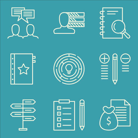 personality development: Set Of Project Management Icons On Creativity, Research, Personality And More. Premium Quality EPS10 Vector Illustration For Mobile, App, UI Design.
