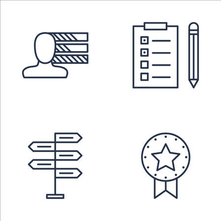 task list: Set Of Project Management Icons On Personality, Award, Task List And More. Premium Quality EPS10 Vector Illustration For Mobile, App, UI Design.