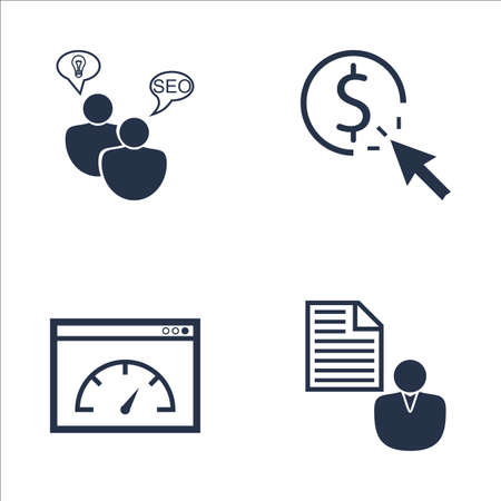 brief: Set Of SEO, Marketing And Advertising Icons On Client Brief, SEO Consulting, Page Speed And More. Premium Quality EPS10 Vector Illustration For Mobile, App, UI Design.