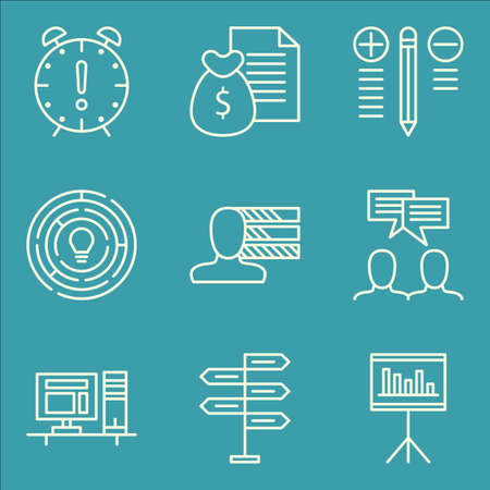 personality development: Set Of Project Management Icons On Money Revenue, Workspace, Personality And More. Premium Quality EPS10 Vector Illustration For Mobile, App, UI Design.