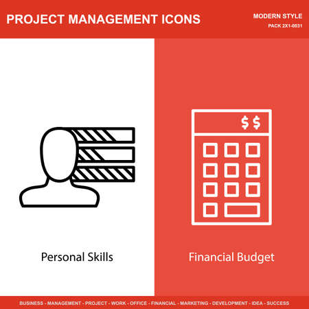 personality development: Set Of Project Management Icons On Personality And Investment. Project Management Icons Can Be Used For Web, Mobile And Infographics Design. Vector Illustration, Eps10.