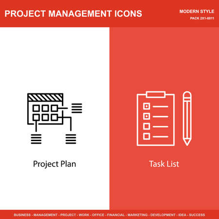 task list: Set Of Project Management Icons On Planning And Task List. Project Management Icons Can Be Used For Web, Mobile And Infographics Design. Vector Illustration, Eps10.