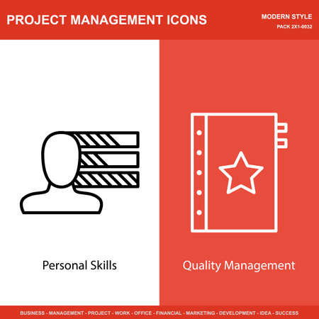 personality development: Set Of Project Management Icons On Personality And Quality Management. Project Management Icons Can Be Used For Web, Mobile And Infographics Design. Vector Illustration, Eps10.