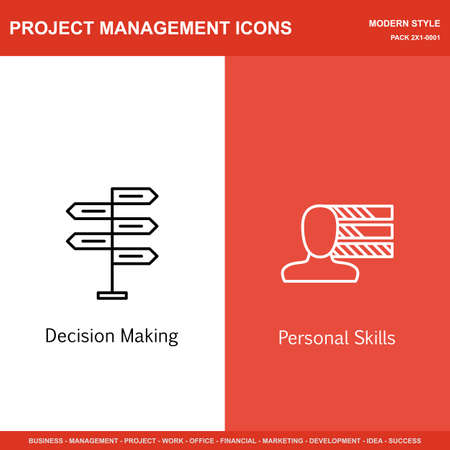 personality development: Set Of Project Management Icons On Decision Making And Personality. Project Management Icons Can Be Used For Web, Mobile And Infographics Design. Vector Illustration, Eps10.
