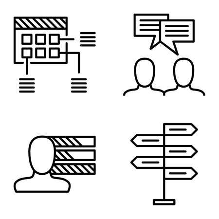 decision making: Set Of Project Management Icons On Decision Making, Personality And Idea Brainstorming. Project Management Vector Icons For App, Web, Mobile And Infographics Design.