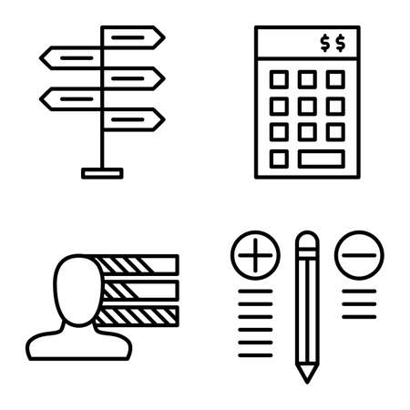decision making: Set Of Project Management Icons On Decision Making, Personality And Best Solution. Project Management Vector Icons For App, Web, Mobile And Infographics Design.