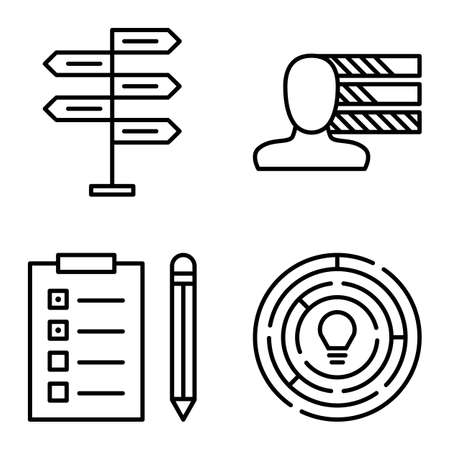 personality development: Set Of Project Management Icons On Decision Making, Personality And Creativity. Project Management Vector Icons For App, Web, Mobile And Infographics Design.
