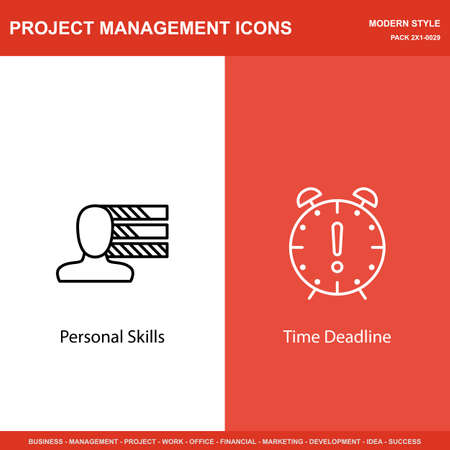 personality development: Set Of Project Management Icons On Personality And Deadline. Project Management Icons Can Be Used For Web, Mobile And Infographics Design. Vector Illustration, Eps10.